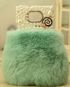 Mint green fur iphone case Iphone 5 5s 5c 4 4s  | Iphone cases and covers