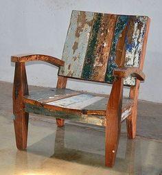 Outdoor Furniture, Reclaimed Teak Adirondack Style Chair Made From Bali Boat Wood