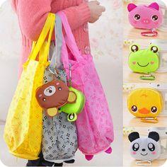 Cartoon Animal Foldable Folding Shopping Tote Reusable Eco Bag Panda Frog Pig Bear waterproof shopping bag free shipping N301