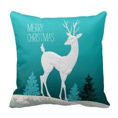 Merry Christmas Reindeer vintage | teal Pillows
