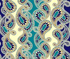 Bluegold Пейсли ткани по lilichi на Spoonflower - обычай ткани
