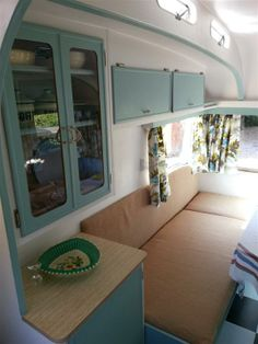 Oh i love the vintage travel trailers on pinterest for Small caravan interior designs
