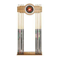 Trademark Global US Marine Corps Billiard Cue Rack with Mirror, Red & Gold & Black