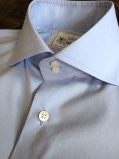 Solid Light Blue Tailored Executive Shirt Stylish Mens Fashion, Mens Fashion Suits, Mens White Dress Shirt, Shirt Dress, Shirt Tie Combo, High Collar Shirts, Cutaway Collar, Savile Row, New Wardrobe