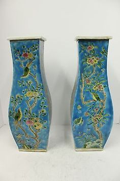 Beautiful Pair of Multicolor Porcelain Square Flower Vase Flower and Bird