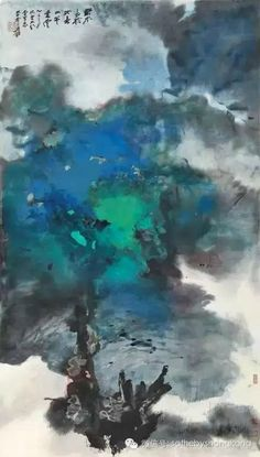Zhang Daqian. Spring Clouds on a Rural River, 1965. Splashed ink and colour on paper. Est: HK$8-12 million / US$1-1.5 million. Photo: Sotheby's
