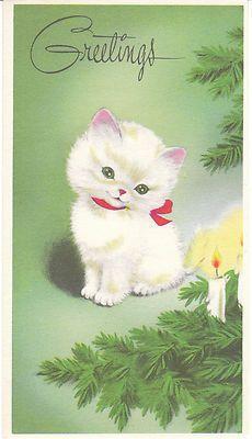 Vintage Christmas Card White Kitten