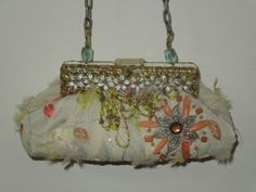 Mary Frances Ivory Pink Yellow Green Pastel Silk Floral Beaded Evening Bag Purse