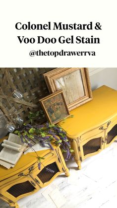Diy Furniture Couch, Diy Furniture Plans Wood Projects, Art Furniture, Repurposed Furniture, Furniture Makeover, Vintage Furniture, Yellow Painted Furniture, Chalk Paint Furniture, Painted End Tables