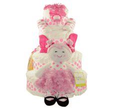 Pink Polka Dot Baby Doll Diaper Cake