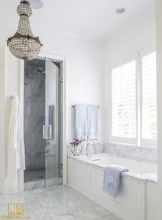 White bathroom design with marble floor and individual shower and bath | Jenna Wallis Interior Design
