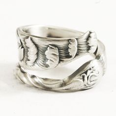 Elegant Sterling Silver Spoon Ring in Whiting Pattern ca 1880s, Handmade Flatware Jewelry with Adjustable Ring Size (4082)