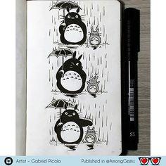Totoro  . . . #totoro #ghibli #studioghibli #Draw #Drawing #Art #Fanart #Artist #Illustration #Design #sketch #doodle #Geekart #Arthelp #Anime #Manga #Otaku #Gamer #Nerdy #Nerd #Comic #Geek #Geeky