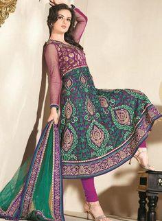 $120.15 Green Full Sleeve Brocade and Net Long Anarkali Salwar Kameez 19660