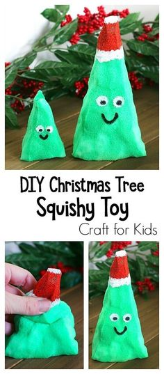 DIY Christmas Tree Squishy Toys: This Christmas craft makes a great sensory play material and is a hit with the kids! Popsicle Stick Christmas Crafts, Christmas Crafts For Toddlers, Christmas Crafts For Kids To Make, Christmas Tree Crafts, Preschool Christmas, Easy Crafts For Kids, Craft Activities For Kids, Christmas Activities, Kids Christmas