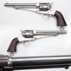 """Remington Model 1875 - Our GOTD was also named the """"Improved Army or Frontier Army. But Ilion, NY's thumb-buster had somewhat limited sales and about 30,000 are believed to have been manufactured from 1875 to 1889. Offered in .44 Remington, .44-40, and .45, the web on the underside of the barrel offered the fastest means of identifying this pistol. Some went """"south of the border"""" as part of a Mexican Army order of 1,000."""