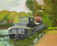 Painting Safari starts in France this year.  This is a houseboat on the Île de Puteaux, just west of Paris.  Please click on http://panagrosso.com/painting-safari-2015-part-i/ … to read more.