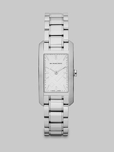 Burberry Check Stamped Rectangular Stainless Steel Watch/Silvertone