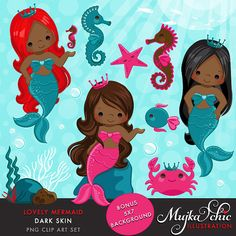 Lovely Little Mermaid Clipart Dark Skin & Under sea graphics- Commercial Use Instant Download Mermaid Graphics