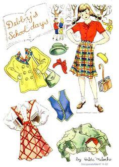 (⑅ ॣ•͈ᴗ•͈ ॣ)                                                            ✄DEBBY'S SCHOOL DAYS Story Parade March 1947 Hilda Miloche  paper dolls