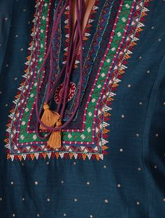 Buy Blue Nehru Collar Chanderi Kurta with Embroidery and Slip (Set of 2) Shell: Slip: Cotton Voile Online at Jaypore.com Embroidery On Kurtis, Hand Embroidery Dress, Kurti Embroidery Design, Embroidery Neck Designs, Hand Embroidery Videos, Embroidery Fashion, Folk Embroidery, Indian Embroidery, Embroidery Stitches
