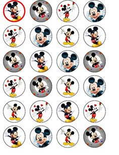 24 X Mickey Mouse Party Birthday Wafer/Rice Paper Cake Toppers
