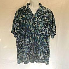 41c2e726 Island Shore Washable Silk Men's Shirt Aloha Hawaiian Blue Flowers Fish  Size XL
