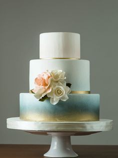 Blue and Gold Ombre Watercolor Wedding Cake, Gold Foil Chicago Wedding Planner
