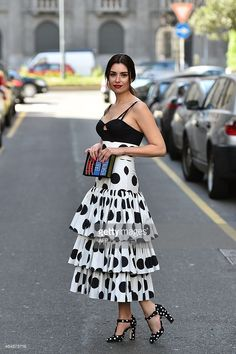 Model Lise Grendene poses in the street before the show for fashion house Dolce & Gabbana at the women Fall / Winter Milan's Fashion Week on March AFP PHOTO / GABRIEL BOUYS Dots Fashion, White Fashion, Skirt Fashion, Fashion Dresses, Milan Fashion Week Street Style, Autumn Street Style, Dressy Outfits, Skirt Outfits, Italian Fashion