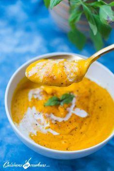 Sweet potato and coconut cream soup - Cuisinons En Couleurs - Cuisine - Vegetarian Recipes Easy Smoothie Recipes, Easy Soup Recipes, Easy Healthy Recipes, Vegetarian Recipes, Vegetarian Soup, Easy Snacks, Healthy Snacks, Easy Meals, Sweet Potato Soup