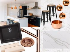 Copper, black and marble are bang on trend. Bring a little glam to your home with our Aoraki EcoGranit sink by SCHOCK, Copper basket waste, Furnipart handles in Rose Gold, Madrid Copper Sink Mixer, and Heritage Stone - in Pearl Grey.