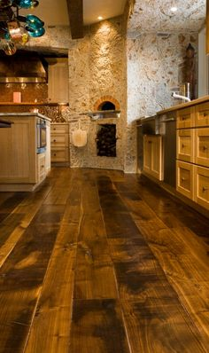 Flooring for bar. Wide Plank Flooring to Give Your Kitchen the Tuscan Style Wide Plank Flooring, Planks, Dark Flooring, Real Wood Floors, Pine Floors, Timber Flooring, Stone Flooring, My Dream Home, Home Kitchens