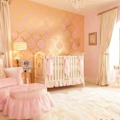 Pink and gold nursery. Love!