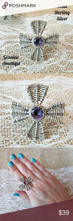 🌹NEW Amethyst Sterling Silver Cross Wire Ring 🌹I'm currently running an additional sale. See listing at the top of my closet for details.🌹  PRICE FIRM UNLESS BUNDLED!   This is brand new. It's solid, oxidized sterling silver with a genuine Amethyst stone in a cross shape. It's a size 9 and is 925 stamped (last pic). This is custom made, so this is the only one available. Jewelry Rings