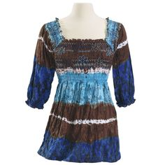 Pacifica Knit Top.   Pacifica. The mountains, lakes, and forests of the Pacific Northwest inspire the print and tie-dye of this refreshing, square-neck top: prettily smocked and softly knit for flattering fit and comfort. Three-quarter sleeves. 100% polyester.