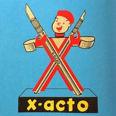 I still use X-acto to the day.  In 1958 this sharp, little guy graced the advertising for the company.  If you stop and think about his body being made of two razors it's a bit odd, but a catchy visual nonetheless.  #typehunter #typehunting #badgehunting