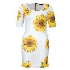 sunflower clothing | Sunflower Print Zip Back Dress - All Clothing - Clothing