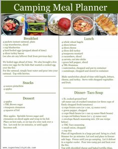 Camping Meal Planner