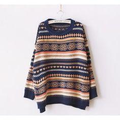 Suéter Casual Manga Larga Pullover Tribal para Mujer-Multicolor