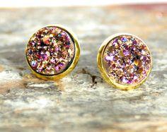 Faux druzy gold-plated post earrings  by PrettySweetShoppe