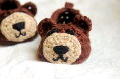 Crochet bear slippers