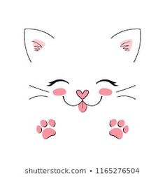 Simple Cat Drawing, Drawing Art, Cute Cat Drawing, Drawing Eyes, Manga Drawing, Embroidery Patterns, Hand Embroidery, Cat Tattoo Designs, Cat Quilt