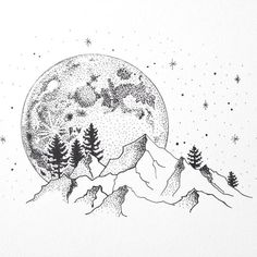 The pointillism in this drawing is a bit different than the others I saved. The others use pointillism to create implied lines in the piece. this piece, however, uses a distinct line to create the shape of the mountains and moon and trees; the pointillism is strictly use as an agent for shadow.  https://www.instagram.com/cami_juel/