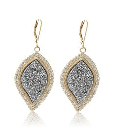 Marcia Moran Druzy Leaf Earrings $222 at www.HAUTEheadquarters.com as seen on Adrienne Maloof on The Real Housewives of Beverly Hills