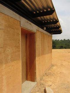 rammed earth, lintel, door