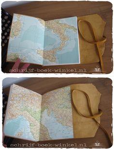 Handgemaakt A5 notitieboek met mosterdgele leren kaft. Nog te koop. Mail voor info: info@schrijf-boek-winkel.nl
