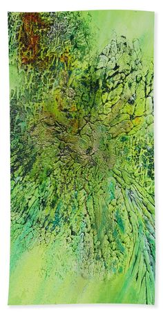 Colors Of Spring Bath Towel featuring the painting Abstract Art - The colors of Spring by Sabina Von Arx The Colour Of Spring, Spring Green, Green Bathroom Decor, Green Beach, Large Beach Towels, Us Beaches, Colorful Backgrounds, Original Paintings, Abstract Art