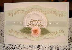 Spellbinders A2 scalloped borders one, Spiral rose & double leaves