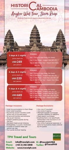 HISTORICAL CAMBODIA minimum of 2 persons to travel  For more inquiries please call: Landline: (+63 2) 282-6848  Phone: (+63) 918 238 9506 or E-mail us: info@travelph.com #TravelPH #TravelWithNoWorries Angkor Wat, Day For Night, Cambodia, Tours, Phone, Travel, Telephone, Viajes, Destinations