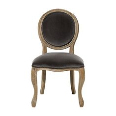 Margot Upholstered Dining Side Chair in Velvet Steel and Weathered